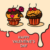 Cakes lovers postcard Stock Images