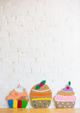 Cakes made of paper on white background Royalty Free Stock Image