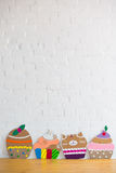 Cakes made of paper on white background Stock Photo