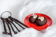 Cakes made of chocolate on a red plate on a white background. Cakes decorated with red jelly and delicate white cream. The metal k Royalty Free Stock Images