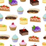 Cakes and Sweet Bakery Pattern Vector Illustration. Cakes made of cream and banana, strawberries and raspberries, mint leaf and blueberries, and sweet bakery Stock Photography