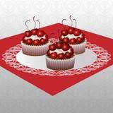 Cakes met kersen Royalty-vrije Stock Fotografie