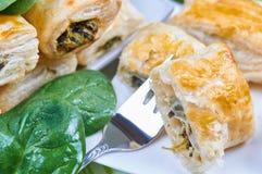 Cakes met spinazie stock afbeelding