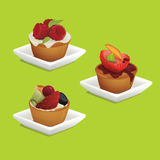 Cakes met vruchten Royalty-vrije Stock Afbeelding