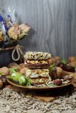 Cakes muesli with fruit and grains - tasty and healthy, Royalty Free Stock Photo