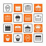 Cakes and muffins pictogram set Stock Photos