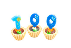 Cakes with one hundred years birthday candles Royalty Free Stock Image