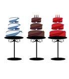 Cakes op drie niveaus op geïsoleerded tribunes royalty-vrije illustratie
