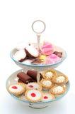 Cakes op een caketribune Royalty-vrije Stock Fotografie
