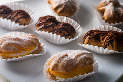 Cakes and pastries. Various delicious cakes and pastries royalty free stock images