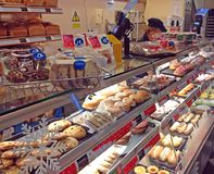 Cakes and pastries in cake shop. Royalty Free Stock Photography