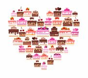 Cakes and pastries, colored, in the shape of a heart. Royalty Free Stock Photography