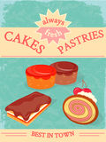 Cakes and Pastries Poster. Always Fresh Stock Images