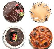 Cakes pastry and bakery. Four kind of cake: chocolate cake, cappuccino cake,chocolate sacher cake, peneapple cake Stock Photos