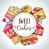 Cakes and pastry illustration. Hand drawn bakery background. Cakes and pastry illustration. Hand drawn b akery background. Vector design for baker shop, cafe Stock Images