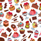 Cakes and patisserie desserts seamless pattern Stock Photography
