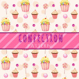 Cakes pattern on a pink background Royalty Free Stock Image