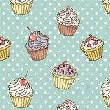 Cakes pattern retro Royalty Free Stock Image