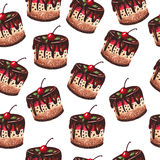 Cakes pattern on a white background Stock Photos