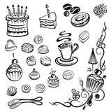 Cakes, pie, praline. Vector set, coffee and birthday cakes royalty free illustration