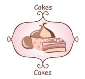 Cakes on a pink. Three cakes with cream. Can be used as a logo Stock Photo
