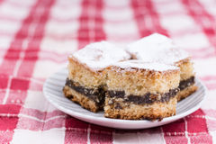 Cakes with poppy seed on the red and white tablecloth Stock Photos