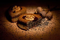 Cakes with poppy seeds and walnuts Royalty Free Stock Image