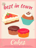 Cakes Poster Best in Town Vintage Style Stock Images