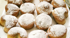 Cakes in powdered sugar Stock Image
