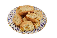 Cakes with raisins on the plate Royalty Free Stock Photo