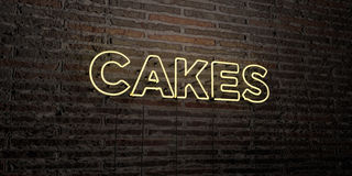 CAKES -Realistic Neon Sign on Brick Wall background - 3D rendered royalty free stock image Royalty Free Stock Photos