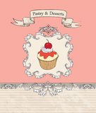 Cakes Retro Banner. Bakery Poster. Sweets and Dessert Stock Photo