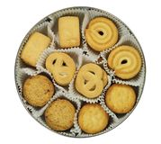 Cakes in round box view from the top on white background Royalty Free Stock Image