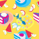 Cakes Seamless Pattern With Spoon Lemons Stock Photo