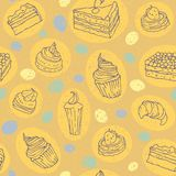 Cakes seamless pattern. Vector illustration. Yellow background Stock Photography