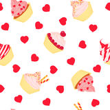 Cakes seamless pattern on white background Royalty Free Stock Photos