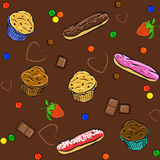 Cakes seamless patterns Royalty Free Stock Photography
