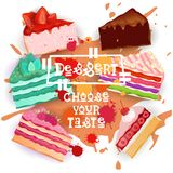 Cakes Set Colorful Desserts Collection Choose Your Taste Cafe Poster Royalty Free Stock Images