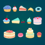Cakes 3. Set of colorful tasty pieces of cakes, slices of pies, and other bakery desserts Stock Photo