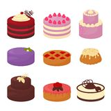 Cakes set icons in cartoon flat style. Vector illustration collection of bright colorful cakes with chocolate and cream royalty free illustration