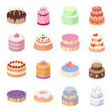 Cakes set icons in cartoon style. Big collection of cakes vector symbol stock illustration Royalty Free Stock Photos
