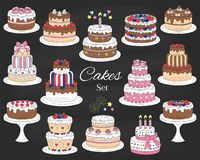 Cakes set, vector hand drawn colorful doodle illustration. Stock Photos