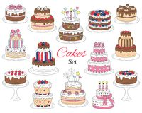 Cakes set, vector hand drawn colorful doodle illustration. Royalty Free Stock Images