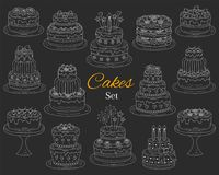 Cakes set, vector hand drawn doodle illustration. Royalty Free Stock Photo