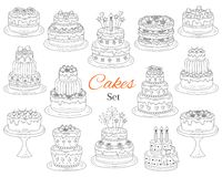 Cakes set, vector hand drawn doodle illustration. Royalty Free Stock Images
