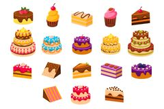 Cakes sett, sweet dessetrts, baked cakes and cupcakes made of cream, biscuit, chocolate and berries vector Illustrations. Isolated on a white background Royalty Free Stock Photography