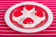 Cakes in the shape of a heart with coconut Royalty Free Stock Image