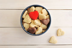 Cakes in the shape of a heart in a round box royalty free stock photography