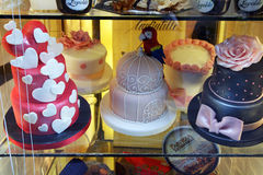 Cakes in a shop Royalty Free Stock Images