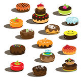 Cakes with smile and chocolate creme Royalty Free Stock Photos